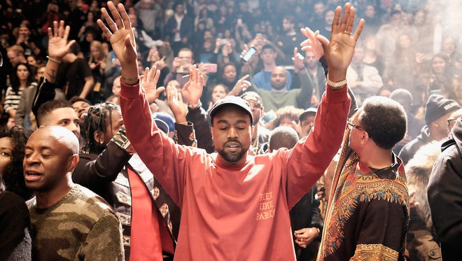 Kanye West performs during his Kanye West Yeezy Season 3 fashion show on Feb. 11, 2016, in New York.
