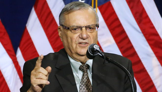 Maricopa County Sheriff Joe Arpaio speaks during the rally for Republican presidential candidate Donald Trump at the Phoenix Convention Center on Aug. 31, 2016.