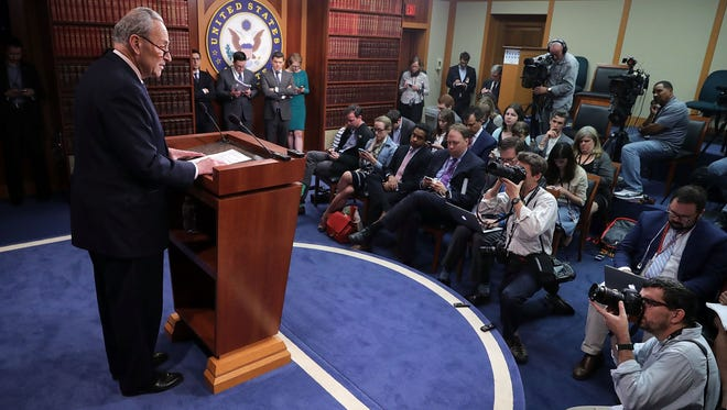 Senate Minority Leader Chuck Schumer holds a news conference at the U.S. Capitol following the firing of FBI Director James Comey on May 9, 2017.