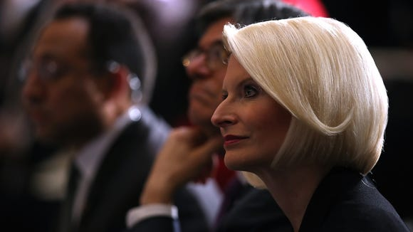 Callista Gingrich looks on during a memorial ceremony