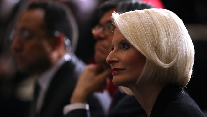 Callista Gingrich looks on during a memorial ceremony to honor the life of former House Minority Leader Rep. Bob Michel (R-IL) in Statuary Hall at the U.S. Capitol on March 9, 2017 in Washington, D.C.