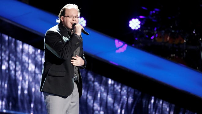 "Lucas Holiday performs during the blind auditions on NBC's ""The Voice"" on Sept. 25, 2017."