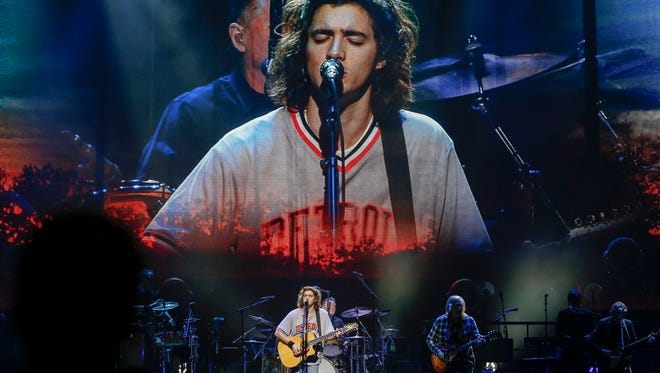 Deacon Frey performs with the Eagles on Friday, Oct. 27, 2017 at the Little Caesars Arena in Detroit.