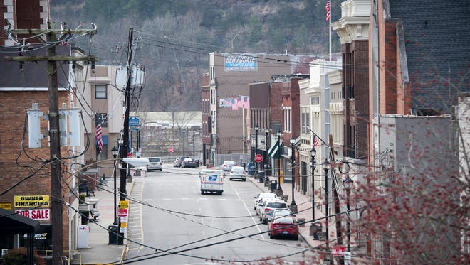 A view down Main Street in the small town of Hazard, Ky., on a quiet Saturday morning. Shorter life expectancy is particularly acute among whites in rural areas of the U.S. such as Hazard, which is over 90% white.
