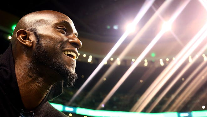 Former Boston Celtics player Kevin Garnett looks on during a game between the Boston Celtics and the Cleveland Cavaliers at TD Garden on February 11, 2018 in Boston, Massachusetts. Paul Pierce's jersey will be retired following the game.