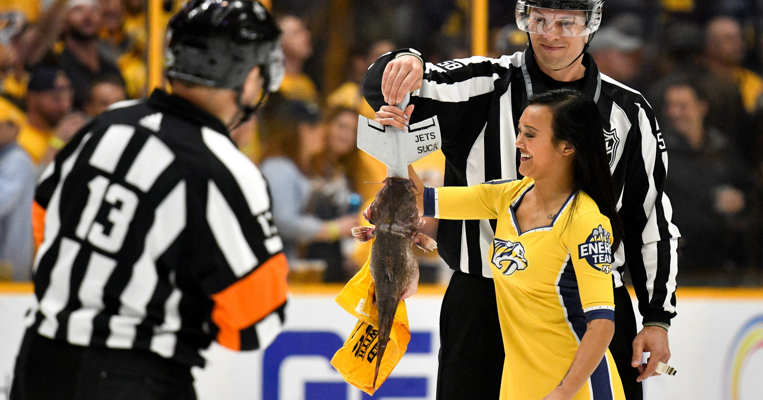 save off fc706 bb2a2 Why do Nashville Predators fans throw catfish on the ice ...