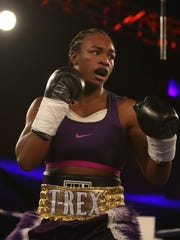 Claressa Shields fights against Szilvia Szabados during the second round of the NABF middleweight championship fight Saturday at the MGM Grand Detroit.