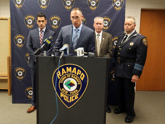 Ramapo police Detective Lt. Michael Colbath announces