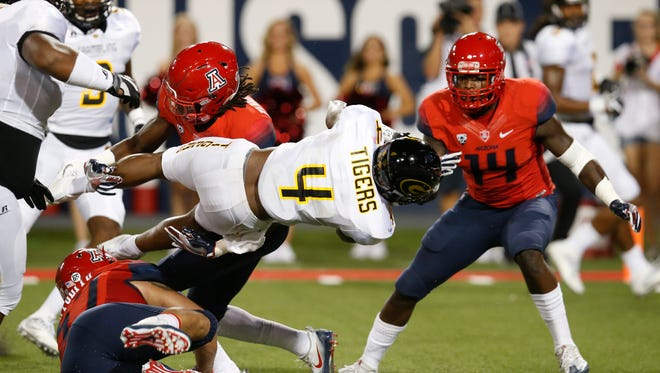 Grambling State wide receiver Martez Carter (4) during the first half of an NCAA college football game against Arizona, Saturday, Sept. 10, 2016, in Tucson, Ariz. (AP Photo/Rick Scuteri)