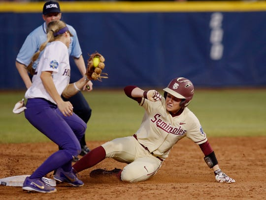 Florida State's Dani Morgan, right, steals second base