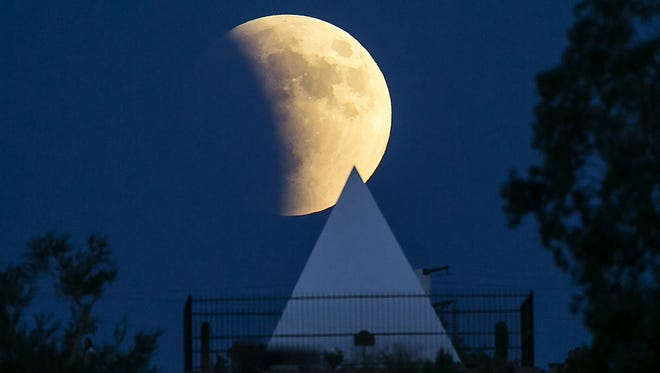 This supermoon rose over  Hunt's Tomb in Papago Park on Sept. 27, 2015.