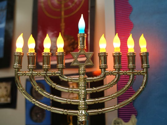 A menorah in the classroom of Etti Scheier, who teaches Hebrew at Rockwern Academy in Kenwood. The school has been been preparing the children for Hanukkah, which begins at sundown, Tuesday, December 16. Students at Rockwern get 45 minutes of Hebrew each day.