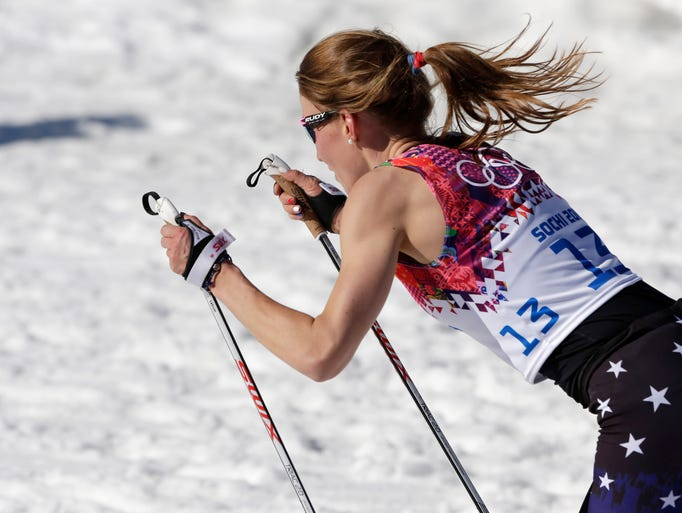 United States' Sophie Caldwell skis with a sleeveless top during the women's 10K classical-style cross-country race at the 2014 Winter Olympics, Thursday, Feb. 13, 2014, in Krasnaya Polyana, Russia. (AP Photo/Matthias Schrader)