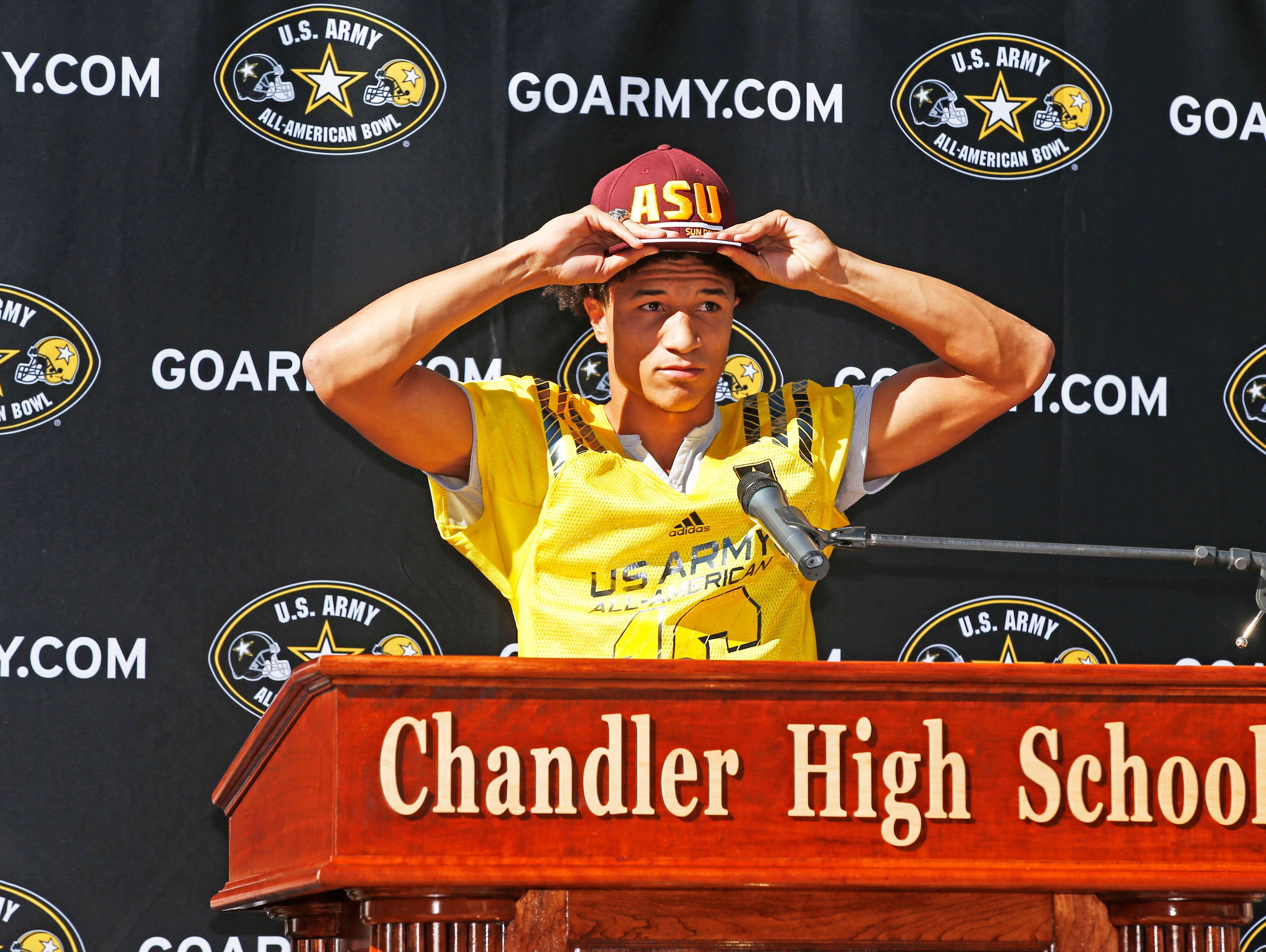 Chandler senior Chase Lucas and U.S. Army All-American announced he will attend Arizona State during a news conference at Chandler High School on Nov. 9, 2015.