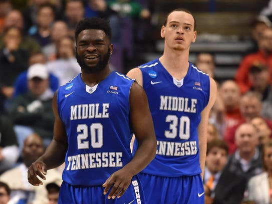 Middle Tennessee guard Giddy Potts, left, and forward