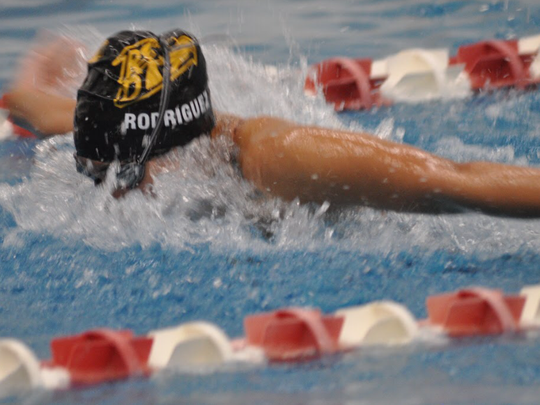 River Dell/Westwood's Sydney Rodriguez swimming the 100 butterfly during a recent meet.