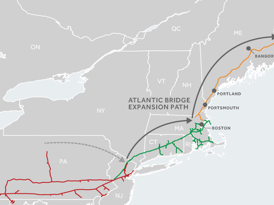 A map of the Spectra Energy's Atlantic Bridge Project,