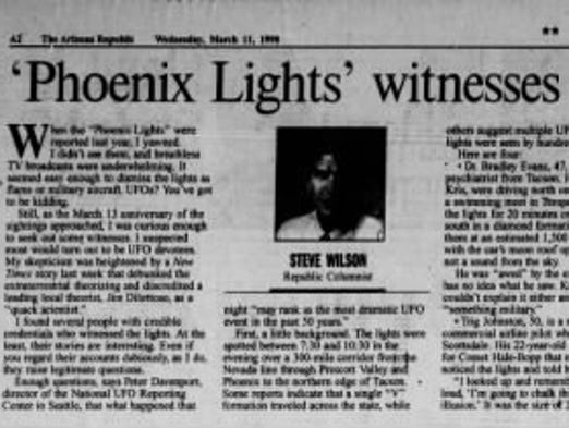 'Phoenix Lights' witnesses credible, hard to dismiss.