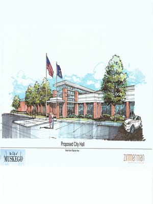 This artist rendering depicts a projected appearance of the planned of new Muskego City Hall.