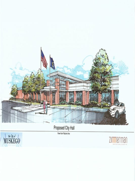 artist rendering of new Muskego City Hall