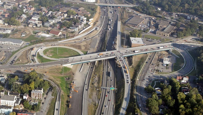 Aerial  view of the Hopple Street/Interstate 75 interchange looking north.