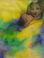 """""""Veil Dancer Going with the Flow,"""" a watercolor by"""