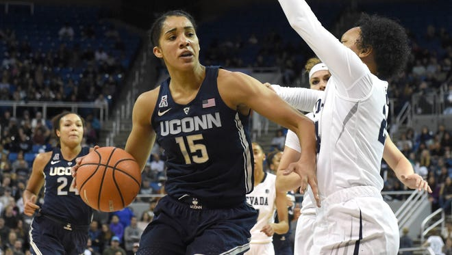Gabby Williams scored 17 points, grabbed six rebounds and dished out three assists in UConn's 88-57 win over Nevada on Tuesday.