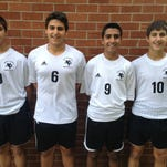 The four members of the George family on the North Farmington varsity soccer team are (left to right) freshman Andrew, senior Alex, sophomore Kyle and freshman Matthew. Alex, Andrew and Matthew are brothers; Kyle is a cousin.