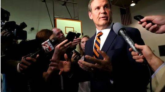 Gov. Bill Lee addresses questions from the media about Tennessee House Speaker Glen Casada on May 8, 2019, in Smyrna.