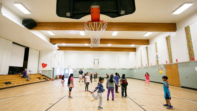 Students use a multipurpose room at Jefferson Elementary School as a gym on Friday, April 21, 2017, in Jefferson, Ore. The room is used as a space for everything from meetings and parents nights to an exercise room and a cafeteria. No more than two grades can fit in the room at one time, so students take their food back to classrooms to eat.