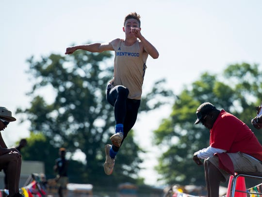 Brentwood's Jett Kinder competes in the long jump at