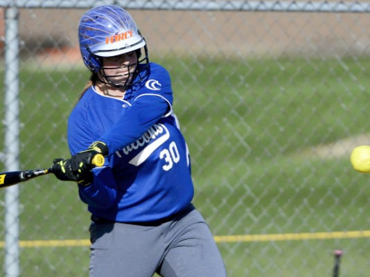 Cedar Crest's Ashley Maulfair looks to connect with a pitch on Friday.