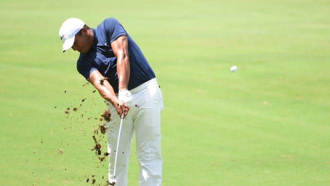 Jhonattan Vegas hits  an approach shot during the PGA Barbasol golf tournament on July 17 in Opelika.