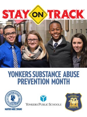 A poster for Yonkers' Stay On Track drug abuse prevention initiative.