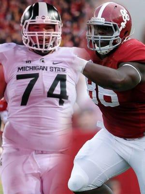 Michigan State's Jack Conklin and Alabama's A'Shawn Robinson