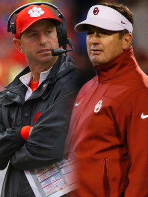 Clemson coach Dabo Swinney and Oklahoma coach Bob Stoops