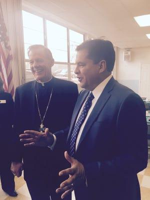 Sen. Joseph Cervantes, D-Las Cruces, meets with Catholic bishops in Santa Fe.