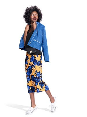 Elbow sleeve T-shirt, $17.99; motorcycle style jacket, $39.99; floral pencil skirt, $24.99.