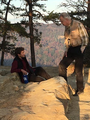 """Jon Voight with Actor Aidan Cullen on set of """"Surviving The Wild"""" at Natural Bridge in Red River Gorge"""