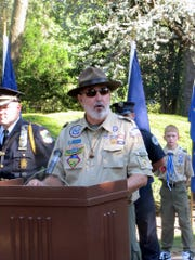 Ken Fineran, Scoutmaster of Boy Scout Troop 17, St. Rose of Lima Church, accepts the Patriot Award on behalf of all town Scouts during ceremonies opening the Fourth of July festivities, July 4, 2010.