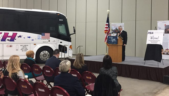 John Bailey, owner of Bailey Travelways and chairman of the Pennsylvania Bus Association, talks about the association's Marketplace March coming to York County in 2018 and 2019. (Photo courtesy of Andrew Staub/ York County Convention & Visitors Bureau)