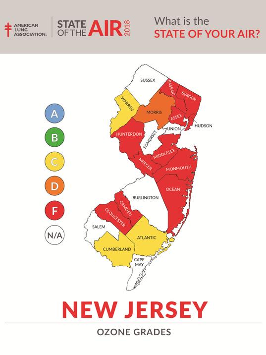 NJ Ozone Map 2018