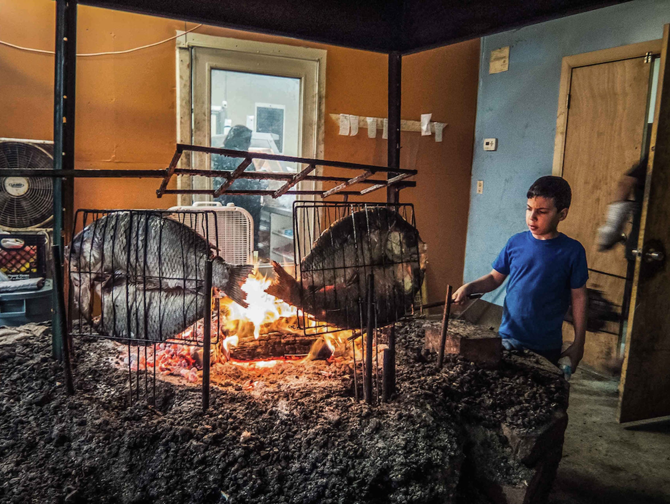 A young Iraqi boy helps his father grill buffalo fish,