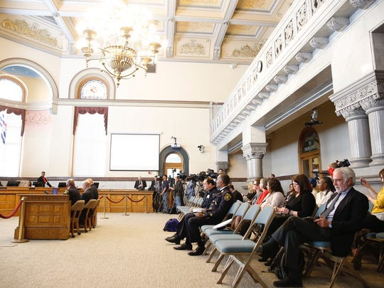 Chambers at City Hall while law committee members are given an update on the Cameo nightclub shooting investigation by authorities.