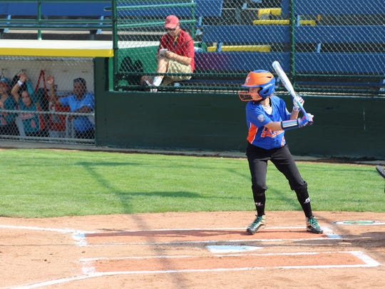 Kate Weber bats during Floyds Knobs' opening 10-0 win