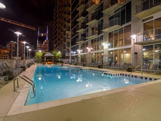 The pool at Encore condominiums in downtown Nashville.