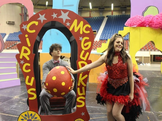 "Bryant Cobb plays Horton and Hannah Brown is Mayzie in the San Angelo Broadway Academy's production of ""Seussical the Musical."""