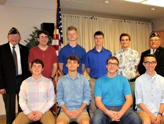 (back row left to right) Jim Bowes, Buckeye Boys State Chairman; Kevin Clark [BU]; John Verdow [FU]; Evan Mahler [FU]; Parker Thomas [LU] and CoChair, Cliff Nelson. (front row left to right) Zachery Meadows [AC]; Jacob Woodruff [AC]; Ken Bruckelmeyer [PB] and Chase Haley [LHS]