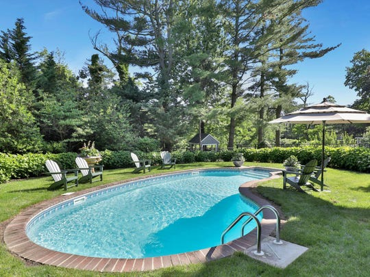 In the backyard features an in-ground pool with lavish greenery or privacy.