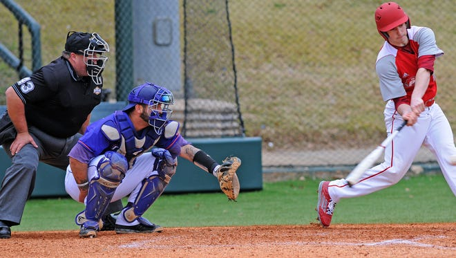 Senior catcher C.J. Webster (left) has started all 39 games for the Demons this season, batting .257 and throwing out nine of 12 runners who have attempted to steal on him.